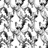 Pattern with hens and cocks Royalty Free Stock Photos