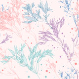 Pattern Herbs. Seamless pattern with herbs on pink backgriund Stock Image