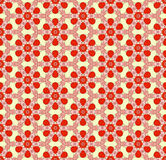 Pattern of hexagonal elements. In ethnic style, painted figures of curls, red and pink on a light background Royalty Free Stock Photo