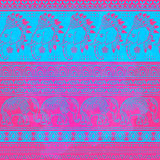 Pattern hippie with baby elephant made in vector. Royalty Free Stock Images
