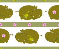 Pattern with hippo Stock Photo