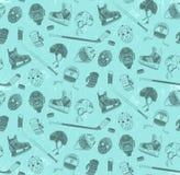 Pattern with hockey equipment. Seamless pattern with hockey equipment - made in dual color, muted tones. Helmets, sticks, gloves, skates, pucks, goalie masks Stock Photos