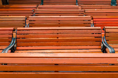Pattern of horizontal lines of wooden benches Stock Image