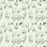 Pattern of the horses doodles Stock Images