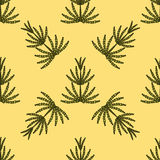 The pattern of horsetail on a yellow background Stock Photography