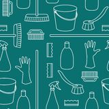 Pattern of household cleaning objects Royalty Free Stock Image