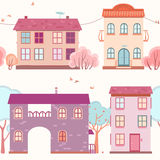 Pattern of the houses and trees Royalty Free Stock Photography