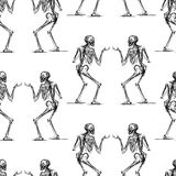 Pattern of the human skeleton sketches. Seamless background of the sketches of human skeletons Royalty Free Stock Images