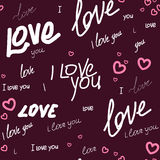 Pattern i love you and heart. Seamless pattern text i love you and heart on a vinous background. For printing on packaging, bags, cups, laptop, etc. Vector Stock Photos
