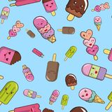 Pattern from ice cream on a blue background. Lovely vector illustration Royalty Free Stock Photography