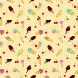 The pattern of ice cream and cherry Stock Images