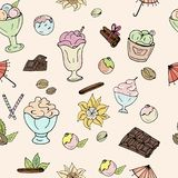 Pattern of ice cream, chocolate, nuts, vanilla and cinnamon on a light background royalty free illustration