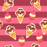 Pattern Ice Cream and Cupcake vector illustration Royalty Free Stock Photography
