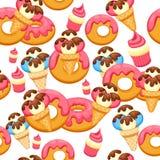 Pattern Ice Cream and donut with pink glaze vector illustration eps 10. Background of texture vanilla Ice Cream dessert. Stock Photo
