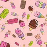 Pattern from ice cream on a pink background. Lovely vector illustration Royalty Free Stock Photography