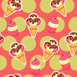 Pattern Ice Cream vector illustration eps 10. Background of texture strawberry and vanilla Ice Cream dessert. Stock Photography