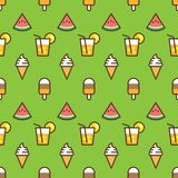 Pattern ice cream, watermelon slice, fruit cocktail on green background. Juicy watermelon, ice cream and cocktail on. Seamless pattern background Stock Photo