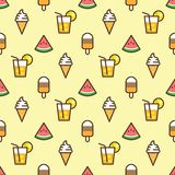 Pattern ice cream, watermelon slice, fruit cocktail on yellow background. Juicy watermelon, ice cream and cocktail on. Seamless pattern background Royalty Free Stock Photos