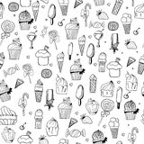 Pattern of ice-creams and cupcake Stock Images
