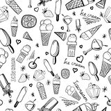 Pattern of ice-creams and ice-lolly. Seamless pattern of ice-creams and ice-lolly in graphic style Royalty Free Illustration