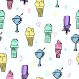 Pattern of ice-creams and ice-lolly Stock Photos