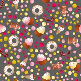 Pattern with ice lolly, cookies, donuts with cream. Seamless pattern with ice lolly, cookies, donuts with cream, cupcakes, bonbon and sprinkles with smile faces Stock Photos