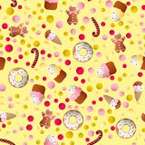 Pattern with ice lolly, cookies, donuts with cream. Seamless pattern with ice lolly, cookies, donuts with cream, cupcakes, bonbon and sprinkles with smile faces Stock Image