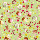 Pattern with ice lolly, cookies, donuts with cream. Seamless pattern with ice lolly, cookies, donuts with cream, cupcakes, bonbon and sprinkles with smile faces Royalty Free Stock Photos
