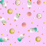 Pattern with icecream, cookies and donuts Royalty Free Stock Photo