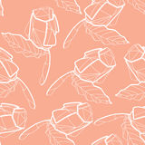Pattern with illustration of abstract origami red rose flower. O Stock Photos