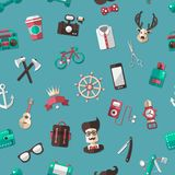 Pattern illustration of modern flat design hipster Royalty Free Stock Images
