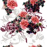 Pattern  illustration with roses Stock Photography