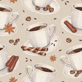 Pattern with illustrations of coffee cup Royalty Free Stock Photo