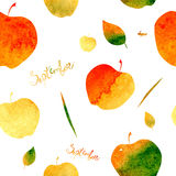 Pattern with the image of apples and leaves, filled with watercolor texture of yellow, orange, green and red colors. September ins. Cription Stock Photography