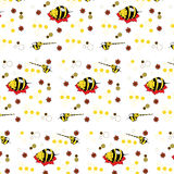 Pattern with the image of lovely animation mutants of elephants bees Stock Photography