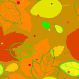 Pattern with the image of silhouettes and contours red, orange, yellow, green, autumn leaves Royalty Free Stock Photos