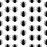 The pattern with the image of spiders with a mirror shadow on a gray background. Vector. Flat. vector illustration