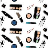 Pattern with images of cosmetics, cosmetics for skin care, decorative cosmetics, in the vector. Sketch image style stock photography