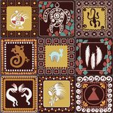 Pattern with imitation of elements of rock art. Seamless pattern with squares pattern with imitation of elements of rock art of ancient Indians, Aztecs, cavemen Royalty Free Stock Image