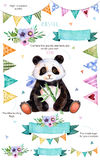 Pattern with individual elements for your own design:flowers,bunting flags,cute panda,bouquets Royalty Free Stock Images