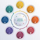 Pattern for infographic 8 positions colorful circles in circle. Stock Photos
