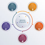 Pattern for infographic 5 positions colorful circles in circle. Stock Image