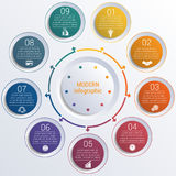 Pattern for infographic 9 positions colorful circles in circle. Royalty Free Stock Photography