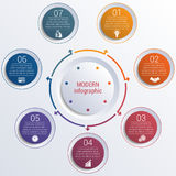 Pattern for infographic 7 positions colorful circles in circle. Royalty Free Stock Photography