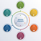 Pattern for infographic 6 positions colorful circles in circle. Royalty Free Stock Images