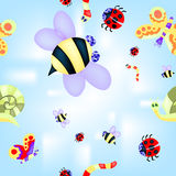 Pattern with insects Stock Image
