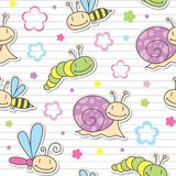 Pattern with insects and snails Stock Photo