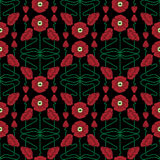 Pattern inspired by art nouveau style. Seamless pattern with poppies inspired by art nouveau style elements stock illustration