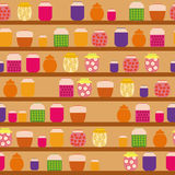 Pattern of jam. Pattern with glass jars of jam that are on the shelves in the pantry Royalty Free Stock Photography