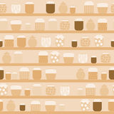 Pattern of jam. Pattern with glass jars of jam that are on the shelves in the pantry Royalty Free Stock Images